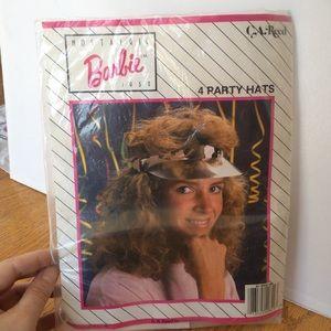 VINTAGE 1980'S PINK BARBIE PARTY HATS/ VISORS